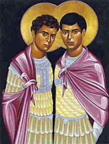 Saints Sergius and Bacchus, Roman Soldiers who were Christians and lovers. Hidden by the church for centuries.
