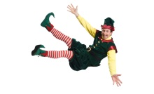 Ryan Winkles as Crumpet the Elf in Santaland Diaries.  Photo by Kevin Sprague.