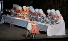 "A scene from Act II of Humperdinck's ""Hansel and Gretel"" with Alice Coote as Hansel and Christine Schäfer as Gretel. Photo: Ken Howard/Metropolitan Opera)"