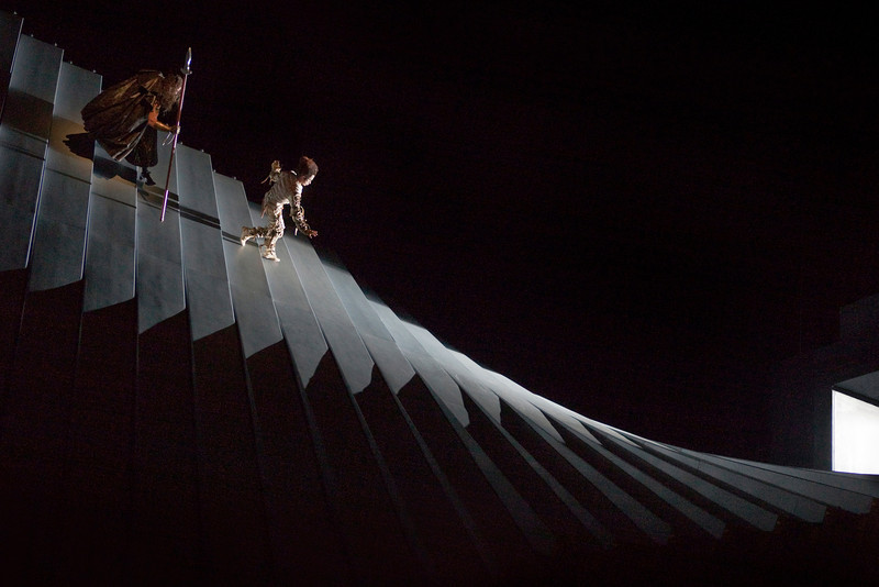 "A scene from Robert Lepage's production of ""Das Rheingold."" Photo: Ken Howard/Metropolitan Opera"