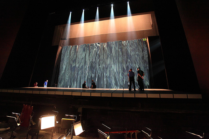 "A technical rehearsal of a scene from Robert Lepage's production of ""Siegfried."" Photo: Ron Berard/Metropolitan Opera"