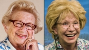 Two Dr. Ruths - the real Dr. Ruth Westheimer on the left, and the actor Debra Jo Rupp on the right in Dr. Ruth, All the Way. Photo on right by Kevin Sprague.