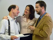 (l to r) are Jarel Davidow, Rachel Cornish and Bill Saunders in The Love List at theLake George Dinner Theatre.