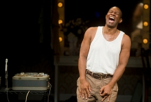 """John Douglas Thompson as Louis """"Satchmo"""" Armstrong in Satchmo at the Waldorf by Terry Teachout at Shakespeare & Company, Lenox, MA. Photos by Kevin Sprague."""