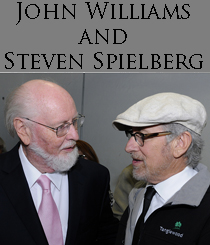 John Williams (l) and Steven Spielberg chat backstage. Photo by Hilary Scott.