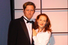 "Jimmy Johansmeyer (l)  and Melissa Herion (r)  in ""The Little Dog Laughed"" at The Theater Barn from September 8-23, 2012."