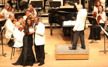 Bramwell Tovey leads the BSO in Porgy and Bess at Tanglewood with Laquita Mitchell and Bess and Alfred Walker as Porgy. Photo: Hilary Scott.