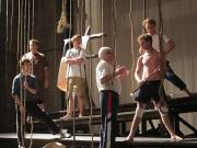 The cast of LORD OF THE FLIES with fight choreographer Felix Ivanov (center)