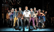 Populism, Yea, Yea!  -- Gus Curry (center, white shirt) and the cast of the SpeakEasy Stage Company production of Bloody Bloody Andrew Jackson, running now thru Nov. 17 in Boston.