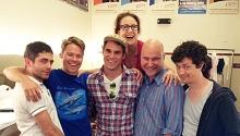 (L to R) Jack Ferver, Randy Harrison, Matthew Wilkas, Jenn Harris, Philip Tarentulo, Christian Coulson.