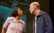 Face to face: Aisha Hinds and John Bedford Lloyd in The Best of Enemies coming to New Jersey's George Street Playhouse from Barrington Stage Company in Massachusetts. Kevin Sprgue Photo.