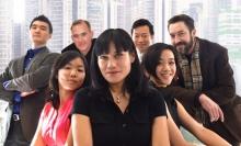 The cast of Chinglish: Cast:  Barlow Adamson, Tiffany Chen,  Liz Eng, Celeste Oliva, Alexander Platt, Chen Tang, Michael Tow. Photo by Nerys Powell.