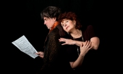 Jim Andreassi (Beethoven), Paula Plum (Dr. Katherine Brandt) in 33 Variations.  Photo by Timothy Dunn.