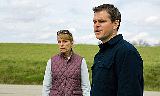 Frances McDormand (l) and Matt Damon (r) work for the energy company.