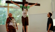 The irony of Tim on the Cross as part of a Passion Play. The WIse Kids from Wolfe Video.