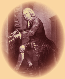 Bach at the organ.