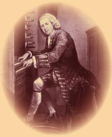Bach at the organ.