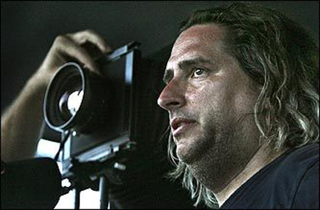 Gregory Crewdson in an image captured by Globe photographer Michele McDonald. She chronicled one of his day-long shoots.