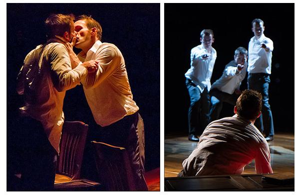 Forbidden: in left image, Alex Mills and Jefferson Farber, and in right photo: Jefferson Farber, Alex Mills, Joel David Santner and Rex Daugherty.