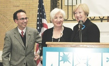 Actress Olympia Dukakis, (c)  was honored at the Statehouse by the Massachusetts Cultural Council and state. Sen. Eileen Donoghue, (r). Sharing the spotlight is (l) Tony Simotes, artistic director of Shakespeare & Company in Lenox.
