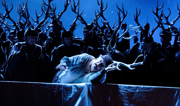 "Ambrogio Maestri (center) in the title role of a new production of ""Falstaff,"" conducted by James Levine and directed by Robert Carsen, which will be transmitted live as part of the 2013-14 season of The Met: Live in HD series on December 14, 2013. Royal Opera House Photo: Catherine Ashmore"