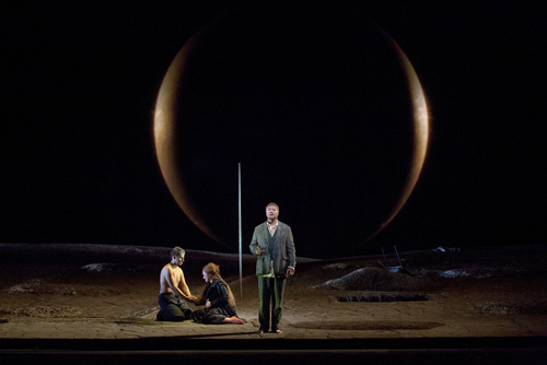 "Jonas Kaufmann as the title character, Katarina Dalayman as Kundry, and René Pape (standing) as Gurnemanz in Wagner's ""Parsifal."" Photo: Ken Howard/Metropolitan Opera"