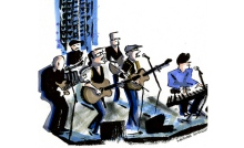 Sweet Remains in a painting by artist Michael Arthur capturing their recent appearance at Joe's Pub in New York City.