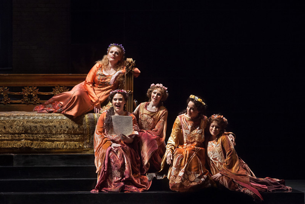 "(front row) Caitlin Lynch as Biancofiore, Dísella Lárusdóttir as Garsenda, Patricia Risley as Altichiara, and Renée Tatum as Donella with Eva-Maria Westbroek in the title role of Zandonai's ""Francesca Da Rimini."" Photo: Marty Sohl/ Metropolitan Opera Taken during the rehearsal at the Metropolitan Opera on February 26, 2013."