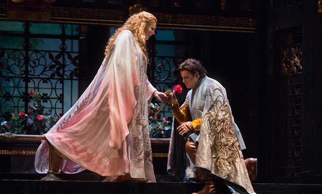 """Eva-Maria Westbroek in the title role and Marcello Giordani as Paolo il Bello in Zandonai's """"Francesca Da Rimini."""" Photo: Marty Sohl/ Metropolitan Opera"""