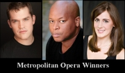 There were six prize winners in the Metropolitan Opera's competition, three of whom are shown here. (l to r) bass-baritones Brandon Cedel and  Musa Ngqungwana and soprano Sydney Mancasola. (Berkshire on Stage graphic)