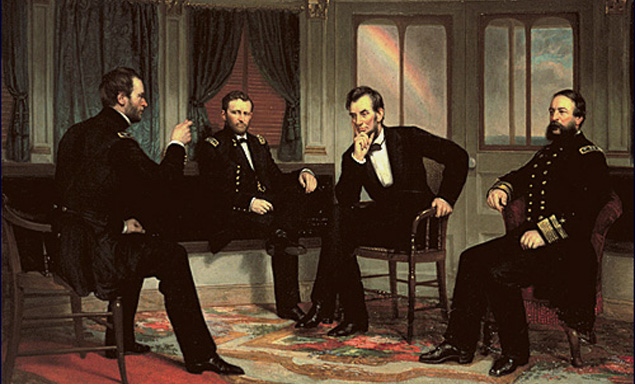 "Seated in the after cabin of the Union steamer River Queen are Maj. Gen. William T. Sherman, Lt. Gen. Ulysses S. Grant, President Abraham Lincoln, and Rear Adm. David D. Porter. Less than a week before the fall of Petersburg, Virginia, the four men met to discuss the nature of the peace terms to follow.  Painting by George Peter Alexander Healy, ""The Peacemakers,"" oil on canvas, 119.7 × 159.1 cm (47.1 × 62.6 in) Courtesy White House Historical Association."