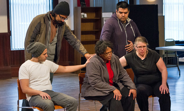 (left to right) Jesse David-Perez, Gabriel Ruiz, Celeste Williams, J. Salomé Martinez Jr. and Tara Mallen rehearse a scene for Steppenwolf Theatre Company's production of How Long Will I Cry?: Voices of Youth Violence by Miles Harvey, directed by Edward Torres. How Long Will I Cry? runs February 26 – March 23, 2013 in Steppenwolf's Upstairs Theatre (1650 N Halsted St, Chicago, IL).