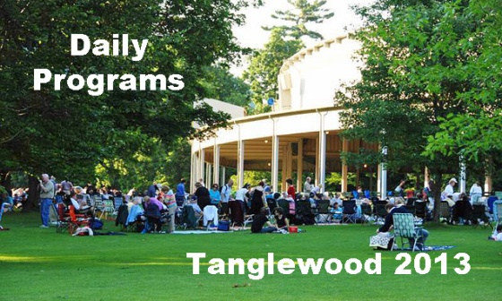 The Berkshire on Stage day by day guide to Tanglewood happenings during the 2013 Season.