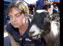 Just kidding around. Jim Breuer, the Goat Boy finally met his match at Disney's Animal Kingdom. Photo Gene Duncan/Disney.