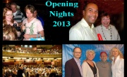 In this photo montage of opening nights of the past are (clockwise from upper left:) Randy Harrison, and fans; Governor Patrick and Tina Packer; David Hyde Pierce, Tyne Daly, Bob Balaban and Blythe Danner; and an audience getting ready at the Colonial Theatre. Photos (top) by Charles Giuliano and (bottom r) by Larry Murray.
