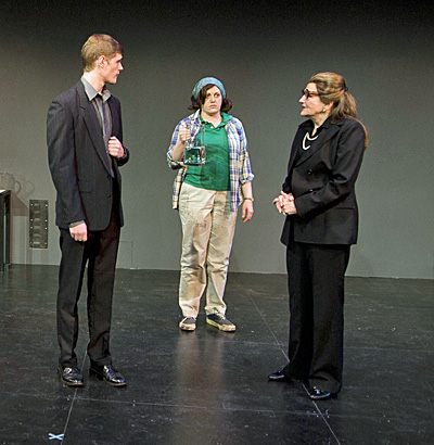 (l to r) Alec Donaldson (Tony), Josephine WIlson (Stagehand) and Annette Miller (Callas). Photo: Kevin Sprague.