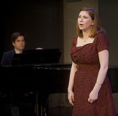 Nora Menken (l) as Sophie) (r) sings and Luke Reed (Manny) provides the music. Photo: Kevin Sprague.