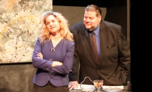 Jenny Strassburg and Paul Romero, in Other People's Money, at Oldcastle Theatre Company June 21-30. Photo by Eric Augenstein.