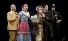 Michael F. Toomey (Costard), Alexandra Lincoln (Jaquanetta), Paula Langton (Holofernes), Josh Aaron McCabe (Sir Nathaniel), Ryan Winkles (Dull). Photo by Kevin Sprague.