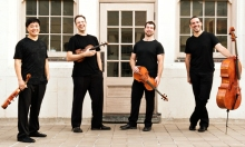 Miro String Quartet..  (l. to r. Daniel Ching, Violin; William Fedkenheuer, Violin; John Largess, Viola;  Joshua Gindele, Cello). Photo by Nathan Russell