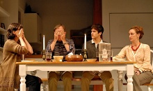 Body Awareness at Chester Theatre Company with (L. to R.): Jennifer Rohn (Joyce), Bruce McKenzie (Frank), David Rosenblatt (Jared) and Caitlin McDonough-Thayer (Phyllis), photo by Rick Teller.