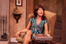 Elizabeth Aspenlieder dons another vivacious comedy role in Accomplice at Shakespeare & Company. Photos by Enrico Spada..