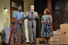 Andy Lucien, Kevin Crouch, and Lynette Freeman in Clybourne Park in the Dorset production.
