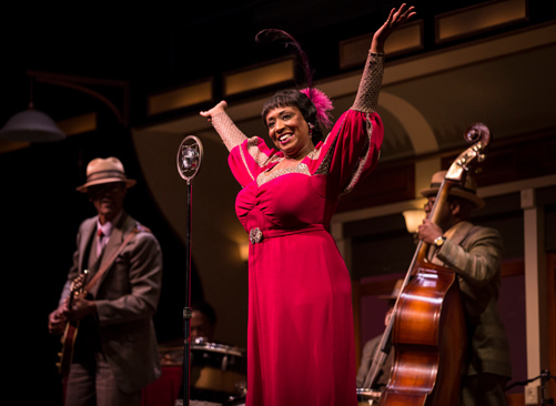 E. Faye Butler (Sister Juba), with Chic Street Man (Professor Slick) and Anderson Edwards (Shorty) in Cheryl L. West's Pullman Porter Blues.