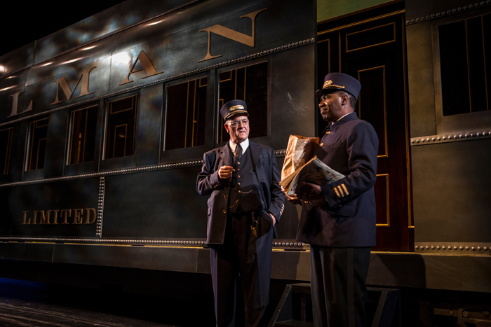 Francis Guinan (Tex) and Cleavant Derricks (Sylvester Sykes) in Cheryl L. West's Pullman Porter Blues, directed by Chuck Smith at Goodman Theatre (September 14 - October 20).