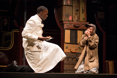 Tosin Morohunfola (Cephas Sykes) and Claire Kander (Lutie) in Cheryl L. West's Pullman Porter Blues.