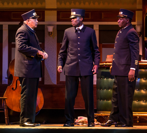 Larry Marshall (Monroe Sykes), Tosin Morohunfola (Cephas Sykes) and Cleavant Derricks (Sylvester Sykes) in Cheryl L. West's Pullman Porter Blues, directed by Chuck Smith at Goodman Theatre (September 14 - October 20)..