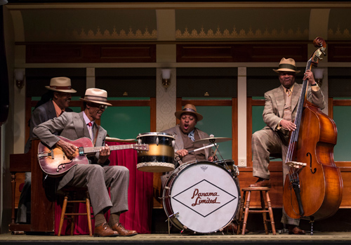 Jmichael Davis (Keys), Chic Street Man (Professor Slick), Senuwell L. Smith (Twist) and Anderson Edwards (Shorty) in Cheryl L. West's Pullman Porter Blues.