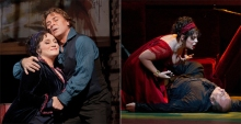 "(left) Patricia Racette as Tosca and Roberto Alagna as Cavaradossi . Photo: Ken Howard/Metropolitan Opera. (right) Sondra Radvanovsky (left) in the title role of Puccini's ""Tosca."" Photo: Marty Sohl/Metropolitan Opera,"