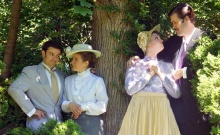 "Moonbox Productions presents Oscar Wilde's classic comedy ""The Importance of Being Earnest""  November 22 - December 14 at BCA Plaza Theatre.  (l to r) Algernon Moncrieff (Glen Moore); Cecily Cardew (Poornima Kirby); Gwendolen Fairfax  (Cat Claus) and Jack/John Worthing/J.P. (Andrew Winson). . Photo by Sharman Altshuler."